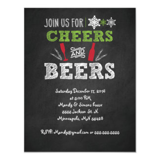 Cheers and Craft beer Holiday Party Invitation. Card