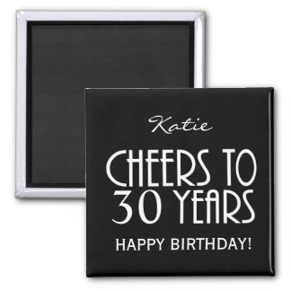 Cheers! ANY AGE or YEARS Black Sq Birthday Magnet