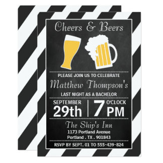 "Cheers & Beers Chalkboard Bachelor Party 5"" X 7"" Invitation Card"