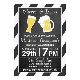 """Cheers & Beers Chalkboard Bachelor Party 5"""" X 7"""" Invitation Card"""