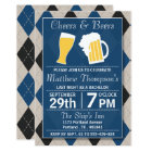 Cheers & Beers Trendy Blue Bachelor Party Card