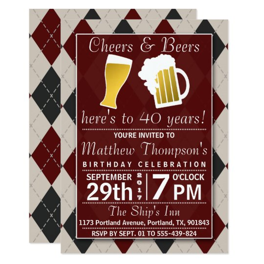 Cheers & Beers Trendy Red Birthday Party Card