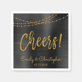 Cheers Black and Gold Foil String Lights Napkin
