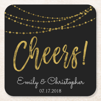Cheers Black and Gold Foil String Lights Square Paper Coaster
