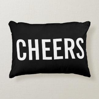 """Cheers"" Black Decorative Throw Pillow"