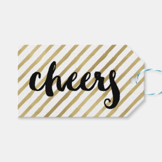Cheers | Black & Faux Gold Stripe Gift Tags
