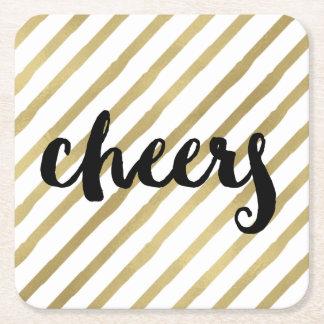 Cheers | Black & Faux Gold Stripe Square Paper Coaster