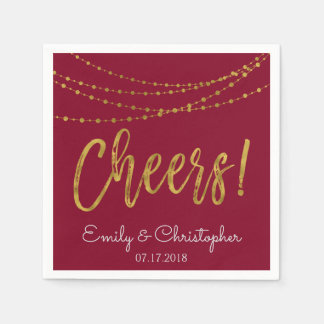 Cheers Burgundy and Gold Foil String Lights Disposable Napkins