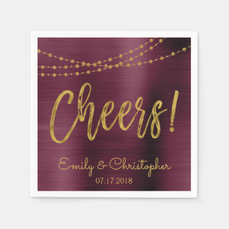 Cheers Burgundy and Gold Foil String Lights Napkin