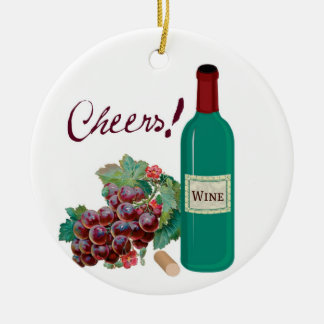 Cheers! Celebrate! Wine Bottle and Grapes Ceramic Ornament