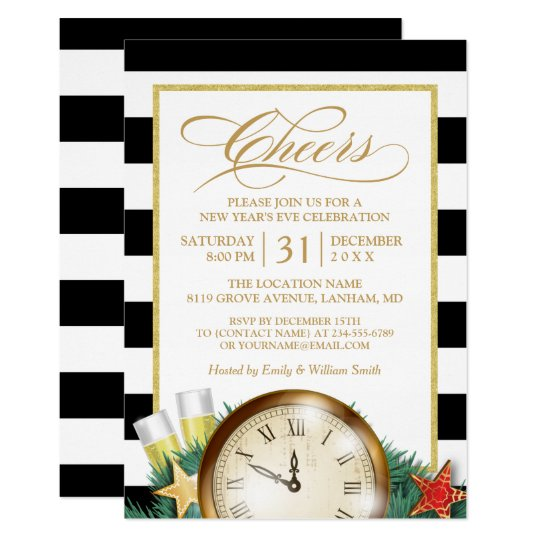 Cheers Champagne Clock Stripes New Years Eve Party Card