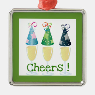 CHEERS! CHAMPAGNE PARTY HAT PRINT METAL ORNAMENT