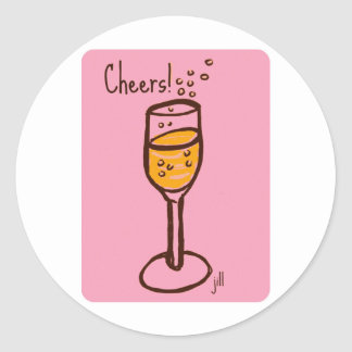 Cheers! Champagne sketch by jill in bright 60s pin Round Stickers
