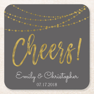 Cheers Charcoal Grey and Gold Foil String Lights Square Paper Coaster