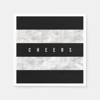 Cheers Chic Silver Foil Black Stripe Holiday Party Paper Napkin