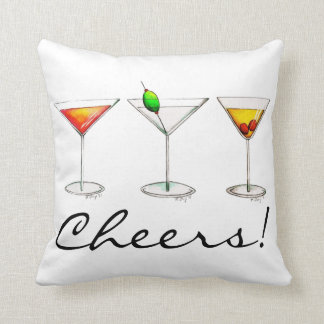 Cheers! Cocktail Mixed Drinks Martini Cosmo Pillow