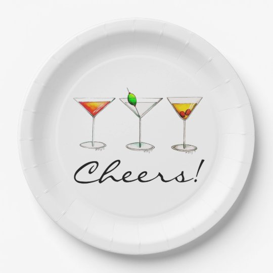 Cheers! Cocktails Martini Cosmo Manhattan Plates 9 Inch Paper Plate