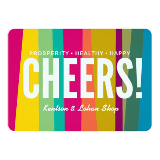cheers & colourful patterned card