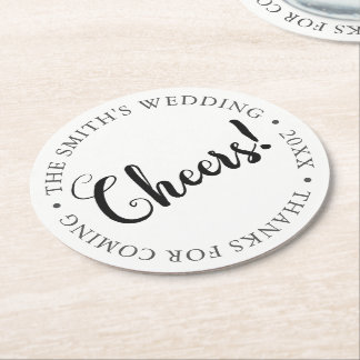 CHEERS! Customizable Party Round Paper Coaster