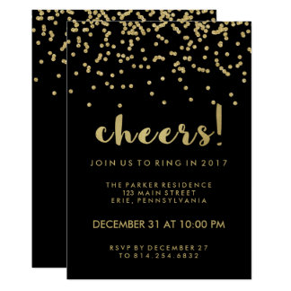 Cheers Faux Gold Confetti Happy New Year Party Card