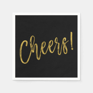 Cheers Faux Gold Foil and Black Napkins Disposable Napkins