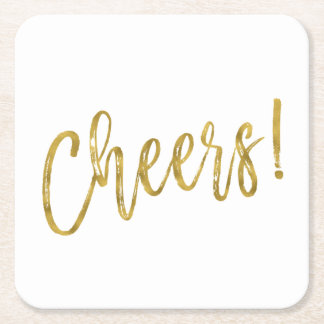 Cheers Faux Gold Foil and White Drink Coasters