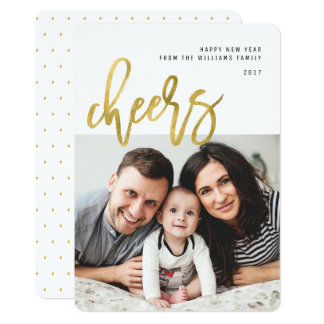 Cheers | Gold Calligraphy Photo New Years Card