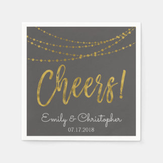 Cheers Gold Foil String Lights and Charcoal Grey Paper Napkins