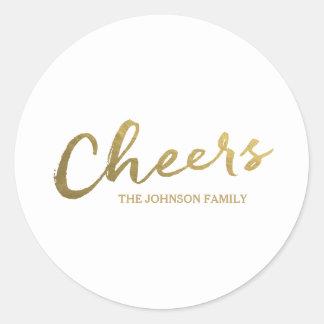 Cheers | Gold Script Holiday Round Sticker