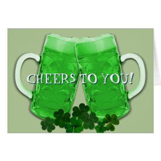 Cheers Green Beer Irish Birthday Message Note Card
