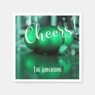 Cheers Green Christmas Ornaments Pic Holiday Party Napkin