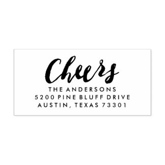 Cheers | Holiday Return Address Rubber Stamp