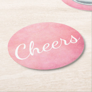 Cheers in Pink Round Paper Coaster