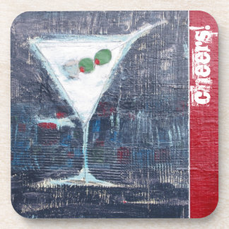 Cheers Martini Cocktail Coasters