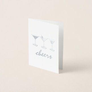 Cheers Martini Manhattan Cosmo Cocktails Drink Foil Card