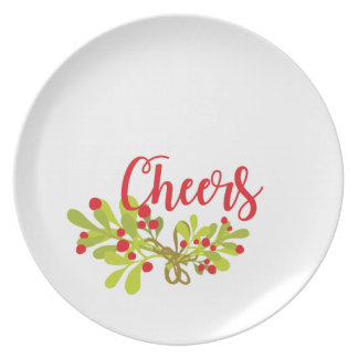 Cheers Merry And Bright Holiday Season Party Plate