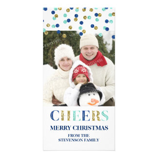 Cheers Merry Christmas Gold Blue Confetti Photo Photo Card