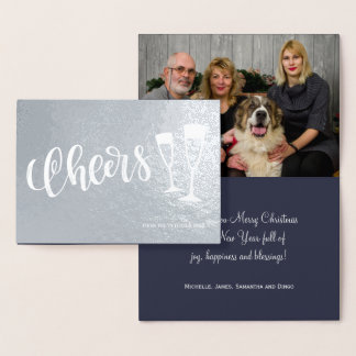 Cheers modern brushed script champagne flutes foil card