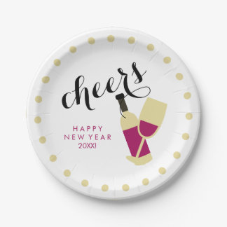 Cheers Modern Happy New Year Wine and Gold Dots Paper Plate