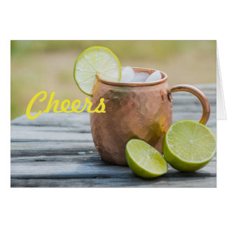 Cheers Moscow Mule in copper cup Customizable Card