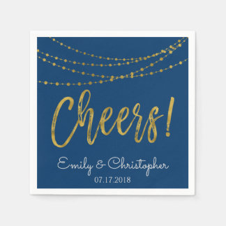 Cheers Navy Blue and Gold Foil String Lights Napkin