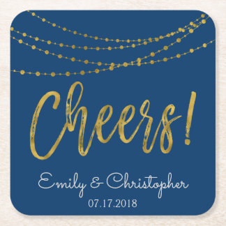 Cheers Navy Blue and Gold Foil String Lights Square Paper Coaster