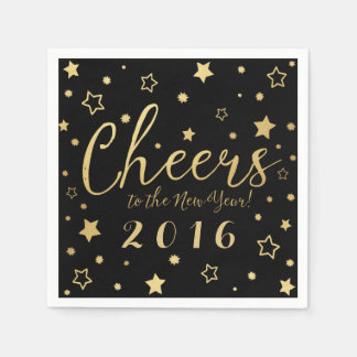 Cheers New Year's Eve Party Napkins / Black Paper Napkins