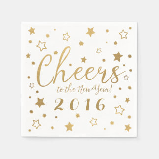 Cheers New Year's Eve Party Napkins / White Disposable Napkin