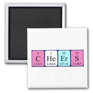 Cheers periodic table word magnet