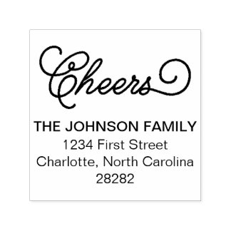 Cheers Personalized Holiday Address Self-inking Stamp
