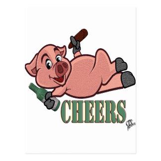 Cheers Pig Postcard