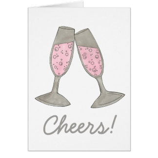 Cheers! Pink Champagne Wedding Congrats Toast Card