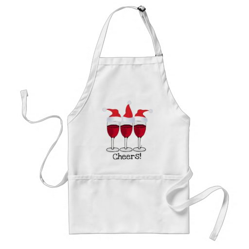 CHEERS! RED WINE AND CHRISTMAS HATS PRINT APRON