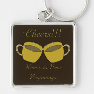 Cheers!!! Silver-Colored Square Keychain